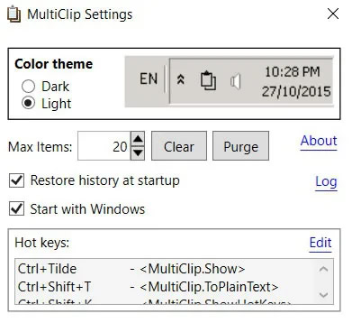 Multiclip Settings