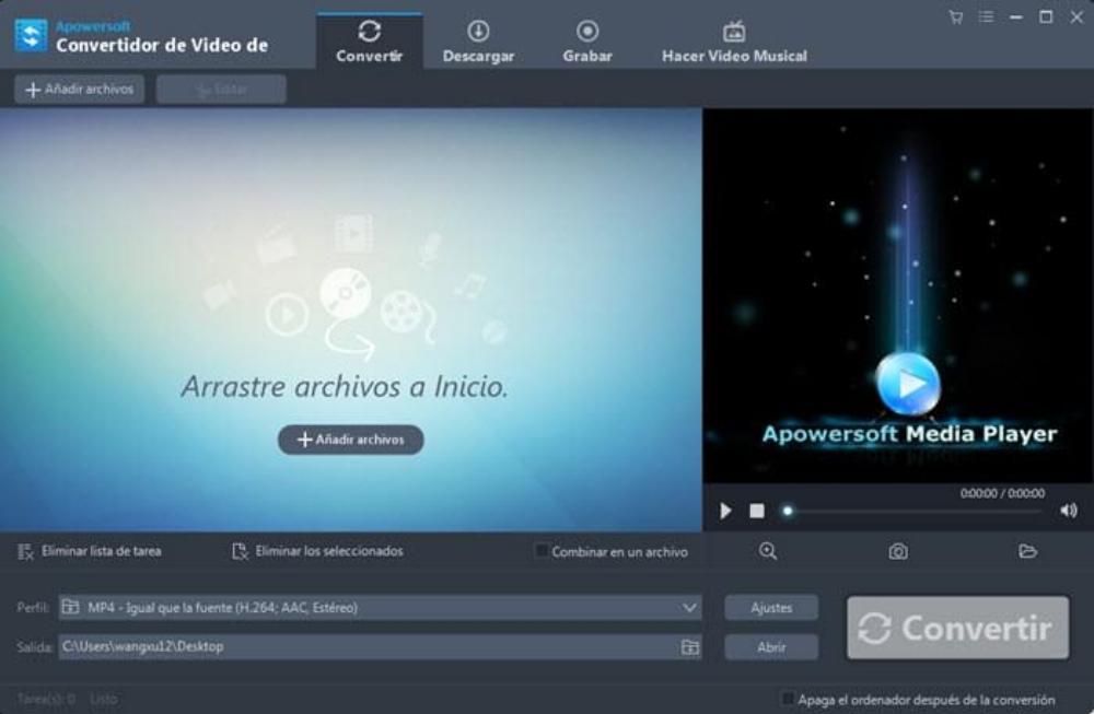 Convertidor de Vídeo Apowersoft mac