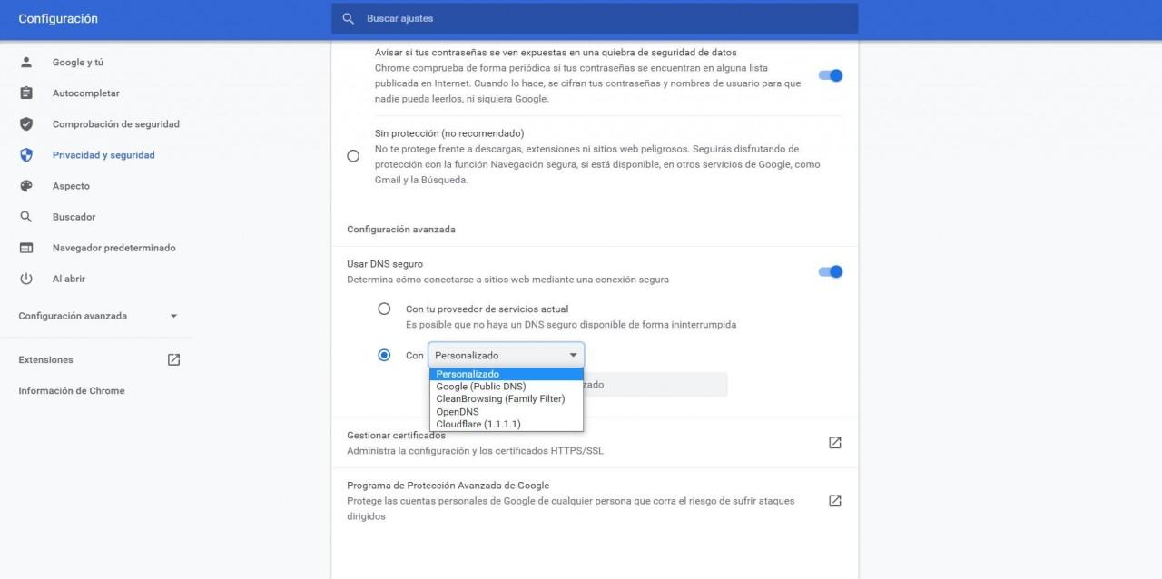 Configurar los DNS ja Chrome